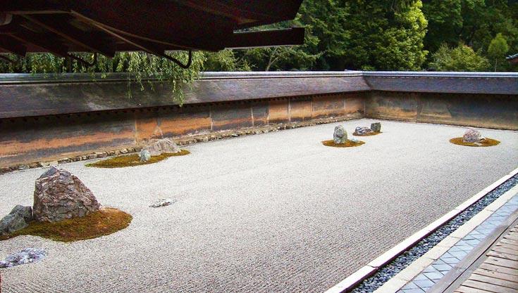 Ryoan-ji, Haupt-Gartenanlage mit den weltbekannten Felsinseln